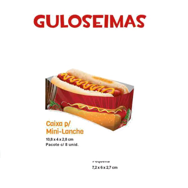Caixa Para Mini Lanche Hot-Dog - C/08 Unds