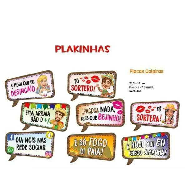 Plaquinha Divertida Kaipira Para Festa Junina C08 Un Brazilian Plast